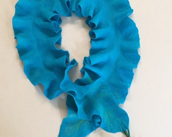 Turquoise ruffle scarf merino wool flowers felt felting felted gift for any occasion