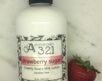 Strawberry Sugar Natural Goat Milk Lotion Moisturizer with Skin Softening Alpha Hydroxy Acid Paraben Free Strawberry Scented