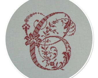 """Monogram Letter """"C"""" cross-stitch Embroidery red metis"""