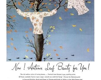 1946 Textron Blouses Fashion & Texaco Havoline Motor Oil Ad Vintage Seamstress Tailor Dressmaker Designer Autumn Tree Surreal Art Wall Decor