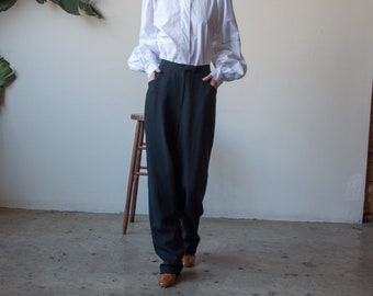 worsted wool black baggy trousers / pleated trousers / high waist pants / US 14 / 33 W / 3437t / B9