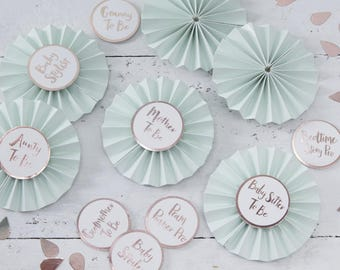 Mint & White Baby Shower Badges, Hello World Baby Shower, Baby Shower Photo Props, Baby Shower Party Props, Baby Shower Games