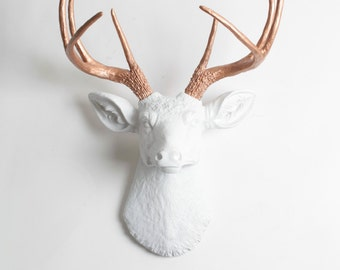 Faux Deer Head   The Imogen   White + Rose Gold Decor Antlers Resin Fake  Deer