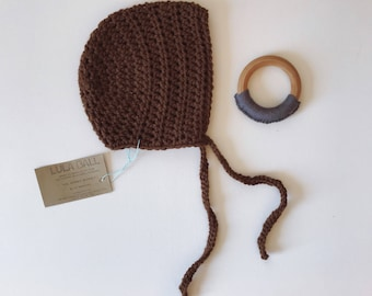 The Sammy Bonnet // Chocolate // Size 6-12 Months // Ready to Ship