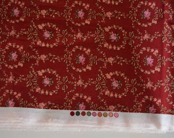 Cotton fabric, red cotton textile  remnant, 3.5 meters