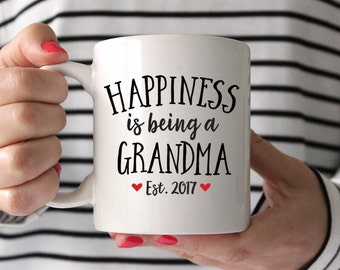 Grandma Gift Grandma to Be Gift New Grandma Gift Pregnancy Announcement to Grandma Pregnancy Reveal to Grandma Mug Coffee Mug Est Red Fun