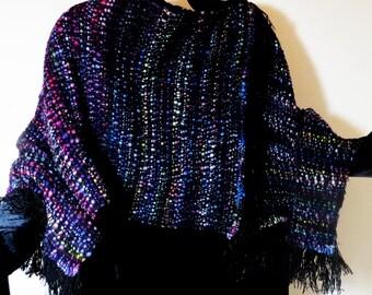 PONCHO,HandwovenMerinoWool. Soft, Warm, Jewel Colors
