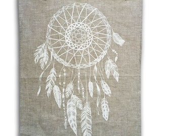 Dream Catcher linen tea towel, hand screen printed WHITE print on oatmeal natural linen, boho feathers American Indian