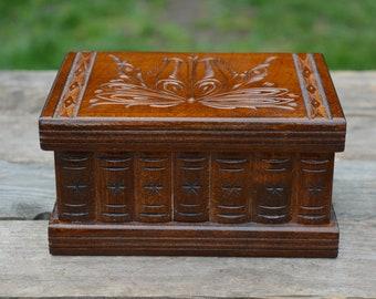 Wood jewelry box, EARRING HOLDER, Best friend gift personalized jewelry box, Mirrored box, Secret box, Mystery box, Hidden compartment box