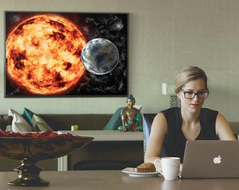 Framed photo paper print - Earth-Sun-Space Painting