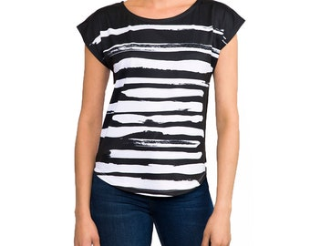 Zen Style Black And White Women's Paint Brush Graphic Tee