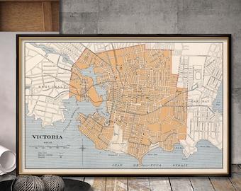 Old map of Victoria   - Fine print - Victoria map  restored