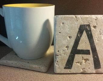 Set of 4 Monogram Travertine Stone Coasters