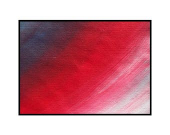 ACEO miniature painting red original abstract art white and black artists trading card atc - Warmth by Robert McConvey