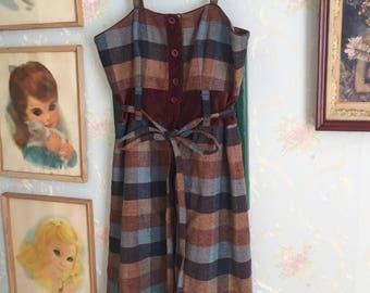 Women's Maple Anthropologie Wool Blue Brown Plaid Velvet Jumper Dress! Size M 12