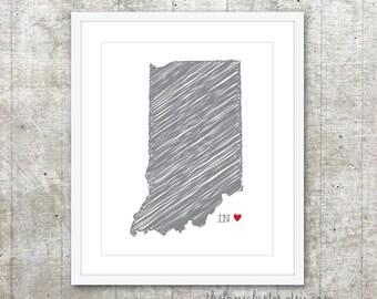 State of Indiana Art Print - Custom State Love Poster - Slate Grey Red Heart - Modern Wall Art