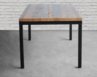 Modern Rustic Dining Table With Reclaimed Wood Top And Steel Parsons Style  Legs In Your Choice