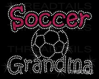 Soccer Grandma / ball Glitter and Rhinestone T-shirt for Grandmothers. Grandparent soccerball shirt. School sports, team player, ladies top.