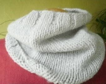 Snood neck light gray color, hand knitted in jersey