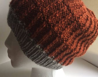 Burnt Orange & Silver Hat