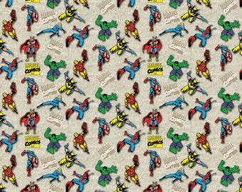 Marvel Comics Superimposed Figures - Camelot Fabrics - Cotton fabric - Choose your cut