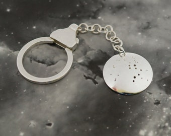 Silver Sagittarius keyring: The constellation of Sagittarius on a sterling silver keychain