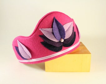 Felt Crown - Princess Crown - Party Crown - Kid Costume - Lotus Crown - Pink crown