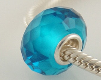 1 Bead - Blue Zircon Crystal Faceted Sterling Silver Core .925 Lampwork Glass European Bead Charm OB1021 LC0085