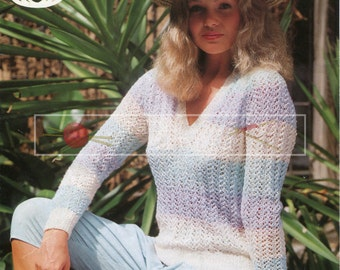 "Lady's Sweater 32-40"" 4-ply Sirdar 6487 Vintage Knitting Pattern PDF instant download"