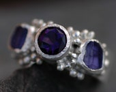 Cut Amethyst and Raw Tanzanite Ring- Made to Order Multi Stone Ring in Sterling Silver, 14k/18k Gold, or Platinum