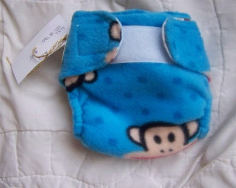 AIO medium fitted diaper  striped flannel/monkey fleece RTS