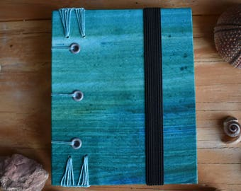 Blue and Green Hand bound Sewn Coptic Journal and Sketchbook