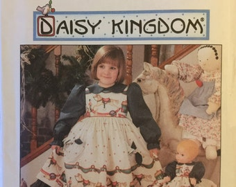 "VTG 7304 Simplicity (1996). Daisy Kingdom. Dress, pinafore, 17"" doll dress. Size 3-4-5-6 and 5-6-7-8. Complete, unused, FF. EX condition."