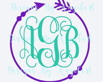 SVG Circle with Arrow  Frame  Monogram Initials  SVG Eps Pdf  Digital cutting file  Instant Download - Use on your cutting machine Vector