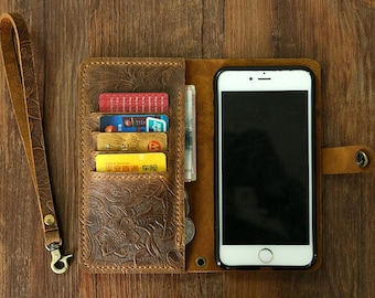 Women embossing leather Wristlet iPhone  6s wallet case iPhone 6 mobile wallet / leather iPhone 6 6s plus wallet case cover IP20MW-B