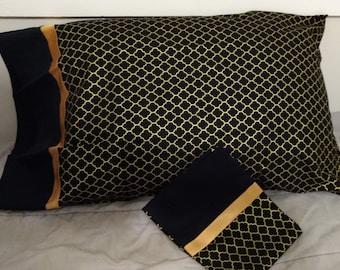 Gold and Black Pillowcase Set