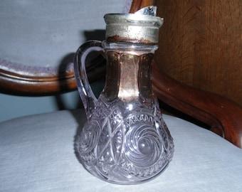 Fancy Vintage EAPG Violet Glass Syrup Pitcher - Partial Lid