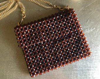 vintage beaded evening purse made in Italy amber brown gold chain