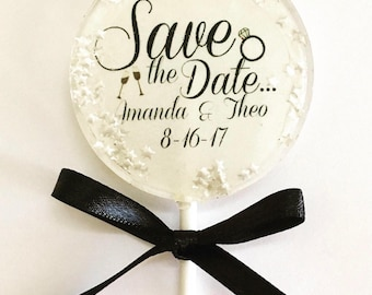 Wedding Lollipop- Hard Candy Lollipop-Candy- Wedding Favors- Bridal Shower Party Favors- Birthday Favors- Save the Date- Personalized
