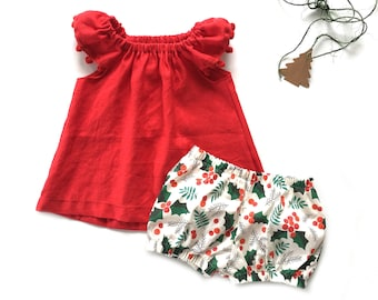 baby girl christmas outfit 6-12 SALE RTS baby linen top christmas bloomers set baby girl summer clothes,linen clothes NB-3