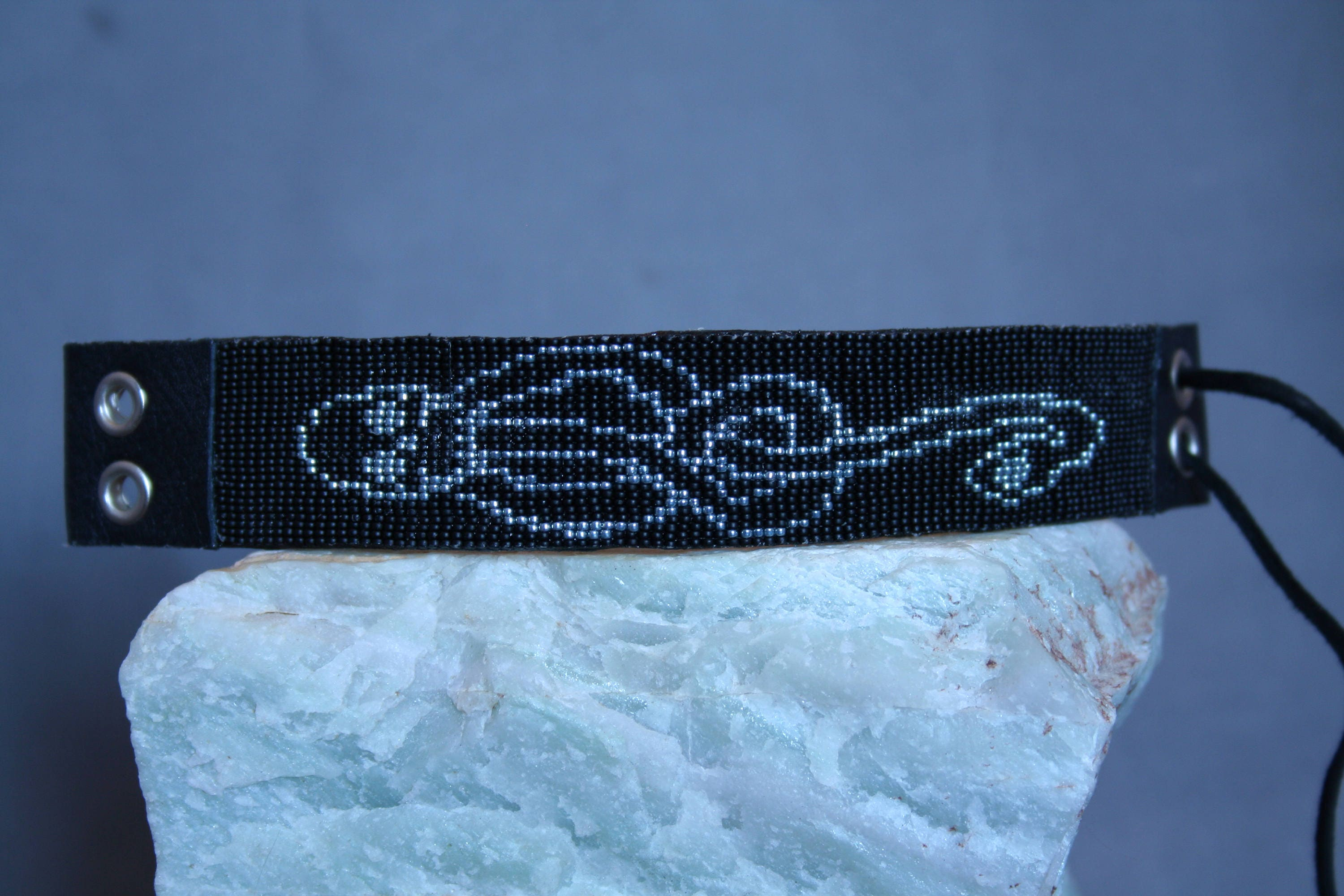 Harry potter death eater symbol hand beaded leather bracelet zoom biocorpaavc Images