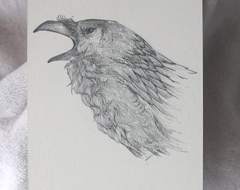 Raven Postcard, Raven Drawing, Raven Print, Raven Illustration, Detailed Raven, Raven Profile, Raven Art, A6 Print, Small Art, Pen Drawing