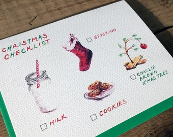 Christmas Card / Holiday Card / Xmas Card / Christmas Stocking Card / Cookies and Milk Card / Charlie Brown Xmas Tree / Christmas Checklist