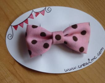 Pink bow hair clip with Brown dots