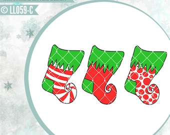 Christmas Stockings Set LL059 C  - SVG - Cut File - Includes ai, svg (Cricut friendly) , dxf (for Silhouette users), jpg, png