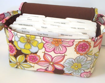 Medium Size Coupon Organizer Holder Bag - Attaches to your shopping cart - Clematis Floral