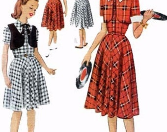 Vintage 1950s Girls Dress and Bolero Sewing Pattern McCalls 8360 50s Childrens Pattern Size 10
