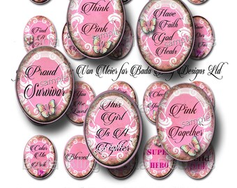 Breast Cancer Awareness, 30mm x 40mm cabs, original art digital collage sheets, INSTANT Digital Download at Checkout, Think PINK in October