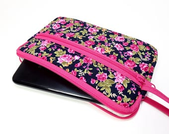 Fuchsia rose zipper pouch, Wristlet wallet, Cosmetic bag, Cell phone bag, iPhone wallet case, Floral wristlet