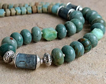 Shades of Green & Blue Chunky Bead Necklace/Kyanite Chrysoprase Jasper Heishi Sterling Silver . Rustic Boho Tribal Southwest Style Jewelry
